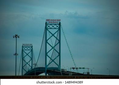 Detroit, MI / USA - August 20, 2019: Detail of Ambassador Bridge between Windsor, Canada and Detroit, Michigan, USA at International Border