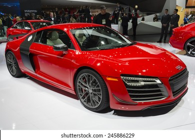 DETROIT, MI, USA - JANUARY 12, 2015: Audi R8 on display during the 2015 Detroit International Auto Show at the COBO Center in downtown Detroit.