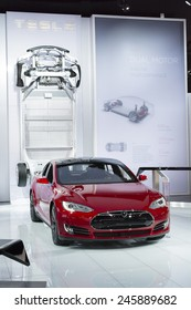 DETROIT, MI, USA - JANUARY 12, 2015: Tesla Model S electric car on display during the 2015 Detroit International Auto Show at the COBO Center in downtown Detroit.