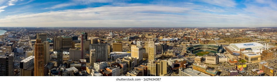 DETROIT, MI, USA - JANUARY 6, 2020: Aerial panorama Downtown Detroit Michigan USA