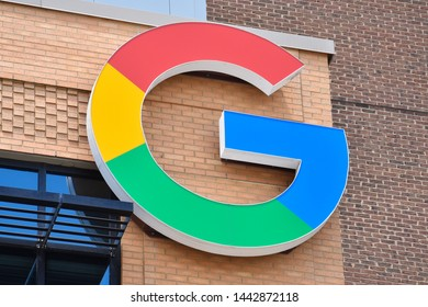 DETROIT, MI / USA - JUNE 30, 2019:  Google's new office near Little Caesars arena in Detroit, whose logo is shown here, opened in 2018 and employs around 100 people.