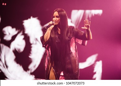 Detroit, MI / USA - March 13, 2018: Demi Lovato performing at Little Caesars Arena on her Tell Me You Love Me world tour.