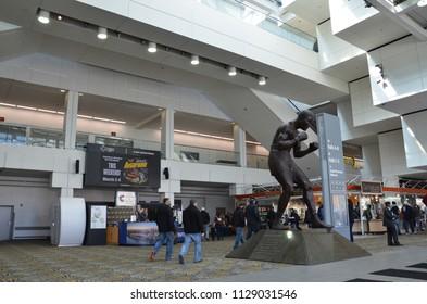 DETROIT, MI / USA - MARCH 2, 2018:  Visitors attend Autorama at the Cobo Center convention center in Detroit