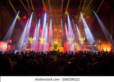 Detroit, MI / USA - March 31, 2018: Judas Priest on their Firepower Tour performs at Detroit's Masonic Temple.