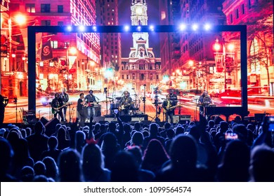 Detroit, MI / USA - May 20, 2018: Hall & Oates performing on their summer arena tour at Little Caesar's Arena in Detroit with Patrick Monahan of Train.