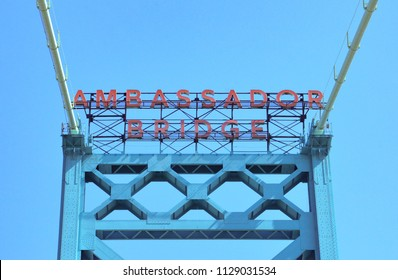 DETROIT, MI / USA - MAY 25, 2018:  The Ambassador Bridge, whose sign is shown here, connects Detroit with Windsor, Ontario.