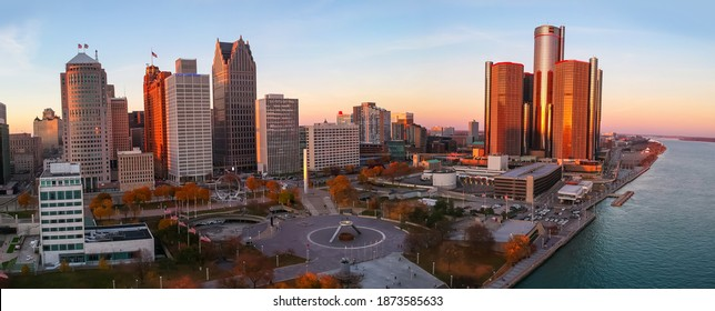Detroit, MI USA - November 07, 2020 : Aerial view of Detroit downtown under evening sunlight.
