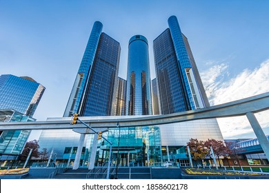DETROIT, MI, USA - NOVEMBER 10:  GM Renaissance Center on November 10, 2020 in downtown Detroit, Michigan.