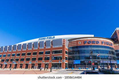 DETROIT, MI, USA - NOVEMBER 10: Ford Field, home of the Detroit Lions on November 10, 2020 in downtown Detroit, Michigan.