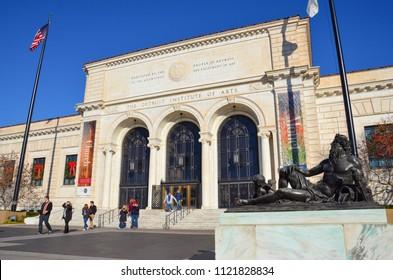 DETROIT, MI / USA - NOVEMBER 24, 2017:  The Detroit Institute of Arts, shown here, includes Diego Rivera's Detroit Industry frescoes.