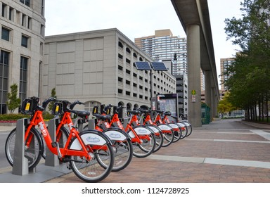 DETROIT, MI / USA, October 21, 2017:  Some of the 430 MoGo bicycles that are active in Detroit are shown in their station off Woodward Ave.