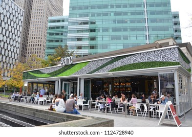 DETROIT, MI / USA - OCTOBER 21, 2017:  Visitors dine in Campus Martius park in downtown Detroit.