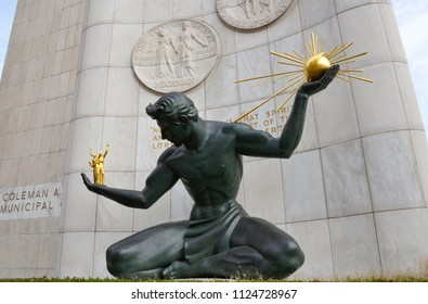 DETROIT, MI / USA - OCTOBER 21, 2017:  The Spirit of Detroit sculpture in downtown Detroit, shown here, was restored in 2006.