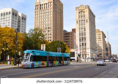 DETROIT, MI / USA - OCTOBER 21, 2017:  Detroit's QLine, shown here, runs along Woodward Avenue in downtown Detroit.