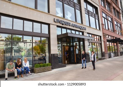 DETROIT, MI / USA - OCTOBER 21, 2017:  UnderArmour, whose Detroit store is shown here, has almost 300 stores.