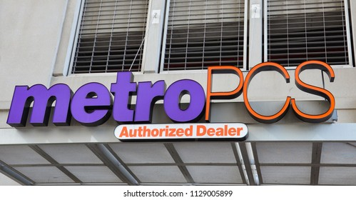 DETROIT, MI / USA - OCTOBER 21, 2017:  MetroPCS, whose Detroit store is shown here, has over 1,000 stores.