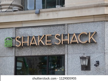 DETROIT, MI / USA - OCTOBER 21, 2017:  Shake Shack, whose Detroit store is shown here, has over 160 stores worldwide