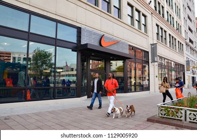 DETROIT, MI / USA - OCTOBER 21, 2017:  Nike, whose Detroit store is shown here, has over a thousand stores worldwide.