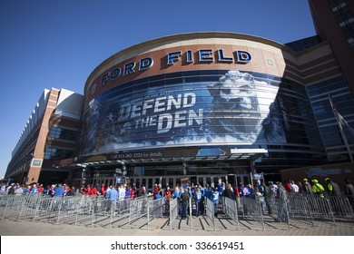 Detroit, MI, USA - October 25, 2015: A view of game day at Ford Field located in Detroit, Michigan. Ford Field is an indoor American football stadium and home to the Detroit Lions of the NFL.