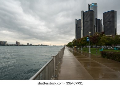 Detroit, MI, USA Sept 18, 2015.  Moody cloudscape of the Detroit River and General Motors Headquarters at the Renaissance Center.