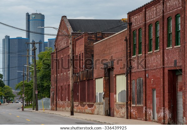 Detroit, MI, USA Sept 18, 2015.  Boarded up brick industrial buildings along Atwater Street in Detroit.