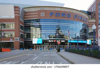 Detroit, Michigan - Apr. 11, 2020: the Ford Field Football Stadium