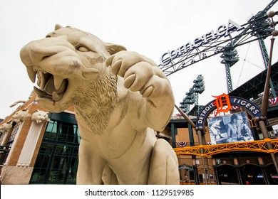 Detroit, Michigan, Detroit-Wayne County, July 8th, 2018: Entrance to Comerica Park, home of the Detroit Tigers.