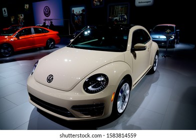 DETROIT, MICHIGAN - JANUARY 14, 2019: Volkswagen Beetle on display during the North American International Auto Show at the Cobo Center in downtown Detroit.
