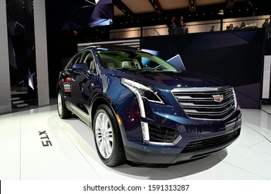 DETROIT, MICHIGAN - JANUARY 14, 2019: Cadillac XT5 on display during the North American International Auto Show at the Cobo Center in downtown Detroit.