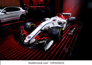 DETROIT, MICHIGAN - JANUARY 14, 2019: Alfa Romeo Sauber F1 car on display during the North American International Auto Show at the Cobo Center in downtown Detroit.