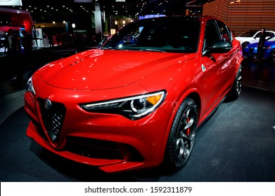DETROIT, MICHIGAN - JANUARY 14, 2019: Alfa Romeo Stelvio on display during the North American International Auto Show at the Cobo Center in downtown Detroit.