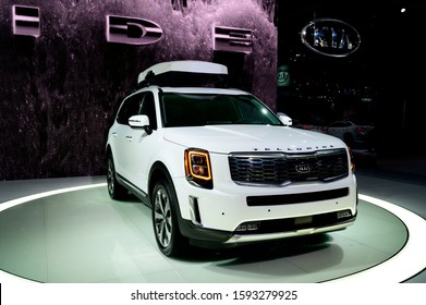 DETROIT, MICHIGAN - JANUARY 14, 2019: Kia Telluride on display during the North American International Auto Show at the Cobo Center in downtown Detroit.