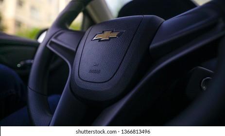 Detroit, Michigan - January 2019: GM Chevrolet logo on a driving wheel