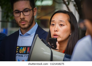 DETROIT, MICHIGAN - JUNE 26, 2018: Representative Stephanie Chang speaks in protest against the supreme court's ruling on the muslim ban.