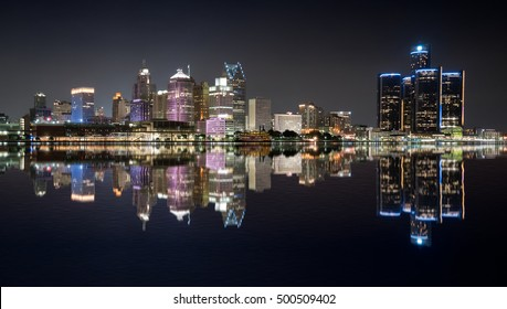 Detroit, Michigan  night skyline from across the Detroit river