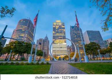 DETROIT, MICHIGAN - NOVEMBER 2 : View of downtown Detroit in  Michigan USA on November 2, 2016
