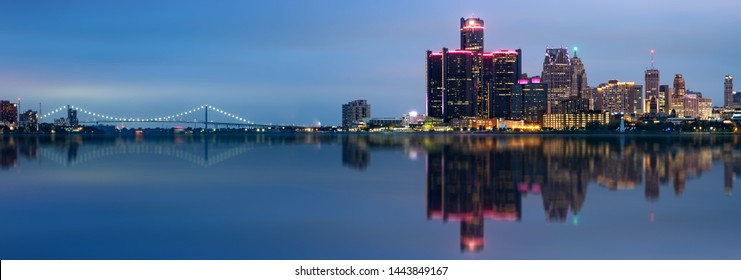 Detroit, Michigan skyline at night shot from Windsor, Ontario, USA