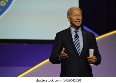 Detroit, Michigan / United States - July 24 2019: Former Vice President Joe Biden makes his case as a presidential candidate at the 110th NAACP convention in Detroit.