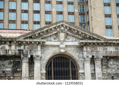 DETROIT, MICHIGAN, UNITED STATES - MAY 5th 2018: A view of the old Michigan Central Station building in Detroit which served as a major railway depot from 1914 - 1988