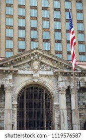 DETROIT, MICHIGAN, UNITED STATES - MAY 5th 2018: A view of the old Michigan Central Station building in Detroit which served as a major railway depot from 1914 - 1988, detailed view with the american