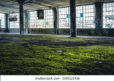 Detroit, Michigan, United States - October 18 2018: View of the abandoned Fisher Body Plant in Detroit. The Fisher Body Plant sprawls multiple city blocks and measures in at 3.5 million square feet