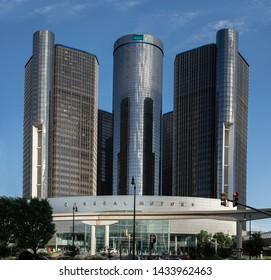 Detroit, Michigan / USA - 06-23-2019: Renaissance Center of Detroit and world headquarters of General Motors