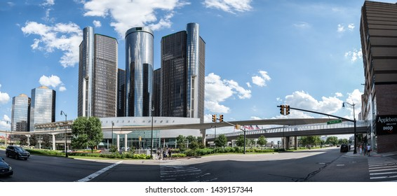 Detroit, Michigan/ USA - 06-29-2019: General Motors world headquarters Ren Cen towers on a sunny day