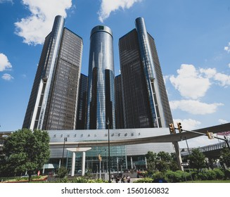 Detroit, Michigan / USA - 06-29-2019: Detroit Ren Cen in downtown on a sunny day