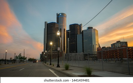 Detroit, Michigan / USA - 07-03-2019: GM World Headquarters also known as the Renaissance Center is glowing in a Michigan sunset