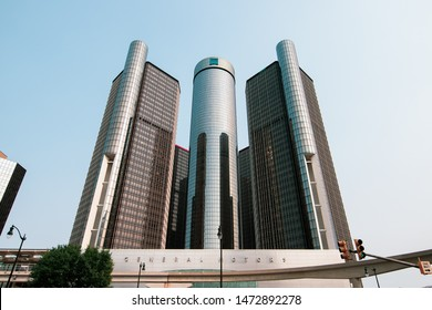 Detroit, Michigan / USA - 07-08-2019: General Motors world headquarters