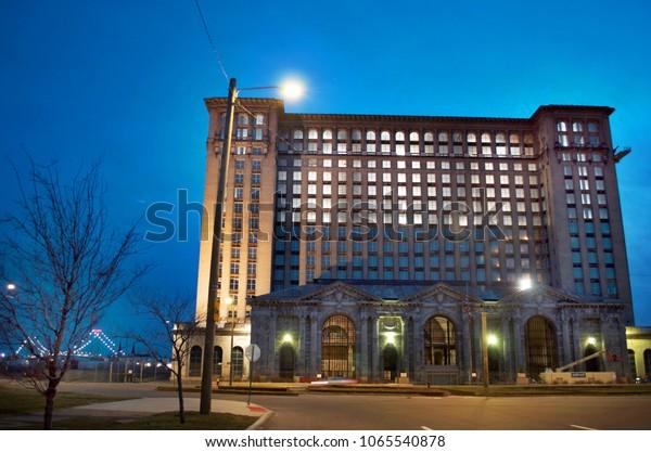 Detroit, Michigan USA, April 5, 2018, Michigan Central Station, MCS, Detroit Train Depot