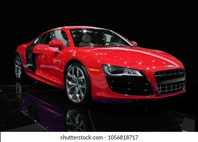 Detroit, Michigan / USA - January 20, 2009.  A 2010 Audi R8 5.2 V10 FSI Quattro on display at the Detroit North American International Auto Show (NAIAS).