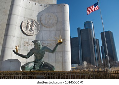 DETROIT, MICHIGAN USA, January 26,2018: Spirit of Detroit Statue and Renaissance Center, GM Headquarters together in downtown Detroit January 26, 2018 Detroit, Michigan