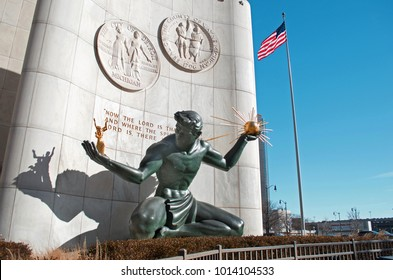 DETROIT, MICHIGAN USA -JANUARY26, 2018: Spirit of Detroit Statue in Front of the Coleman A. Your Municipal Building in Downtown Detroit, January 26 2018 Detroit, Michigan.